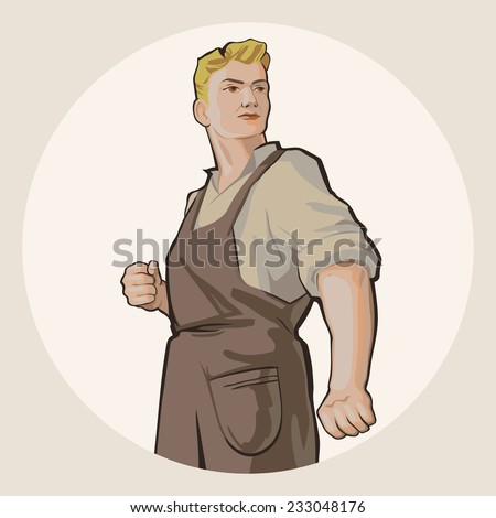 Determined young blond man in working clothes isolated on white background retro vector illustration - stock vector
