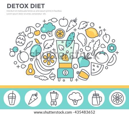 Detox diet, vegetarian food concept illustration with smoothie maker, fresh fruit and vegetables. Thin line flat design - stock vector