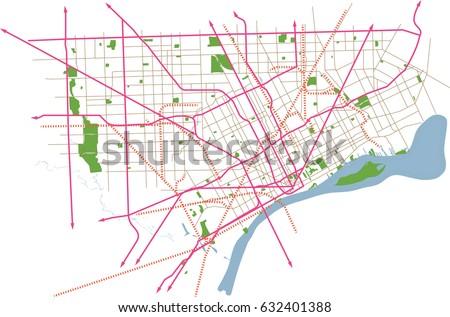 Detroit Michigan Usa Vector Map Stock Vector Shutterstock - Detroit usa map