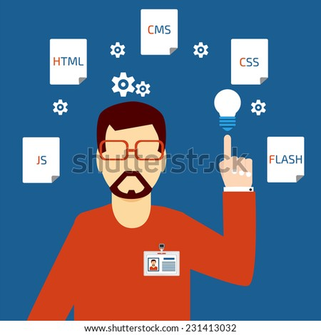 Developer of Web - stock vector