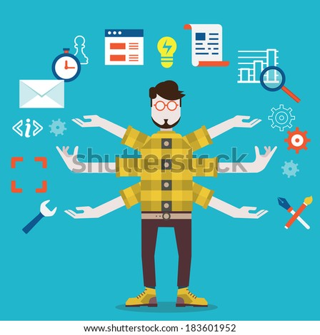 Development and internet service. Human resource and self employment - vector illustration - stock vector