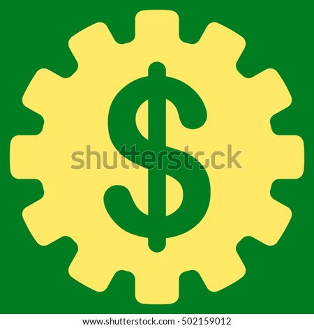 Development Cost vector icon. Style is flat graphic symbol, yellow color, green background.