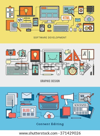 Development, design, marketing and content editing banner set with computer networks and work tools - stock vector