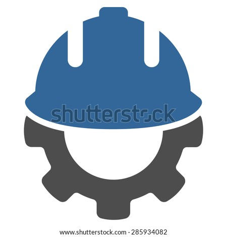 Development icon from Business Bicolor Set. Vector style: flat bicolor symbols, cobalt and gray colors, rounded angles, white background. - stock vector