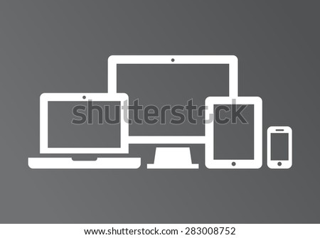 Device Icons: smart phone, tablet, laptop and desktop computer. Vector illustration of responsive web design. - stock vector