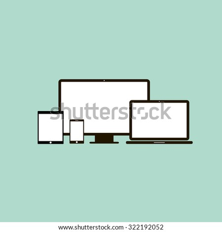 Device Icons: smartphone, tablet, laptop and desktop computer. Flat design - stock vector