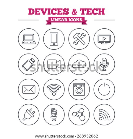 Devices and technologies linear icons set. Notebook, smartphone and wi-fi symbols. Usb flash, video camera, microphone thin outline signs. Washing machine, fluorescent lamp and electric plug.