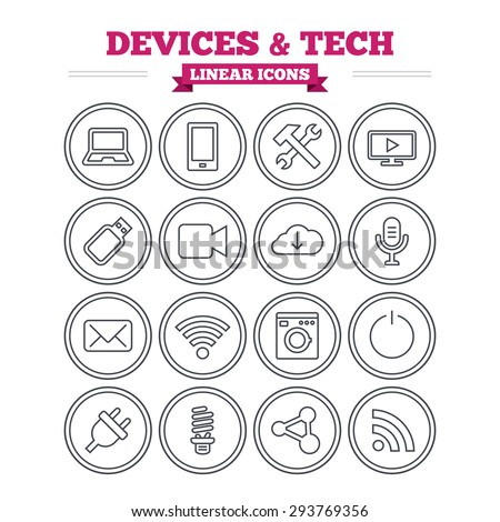 Devices and technologies linear icons set. Notebook, smartphone and wi-fi symbols. Usb flash, video camera, microphone thin outline signs. Washing machine, fluorescent lamp and electric plug. Vector