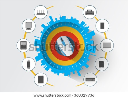 Devices computing. Mobility and modern telecommunication design concept. - stock vector
