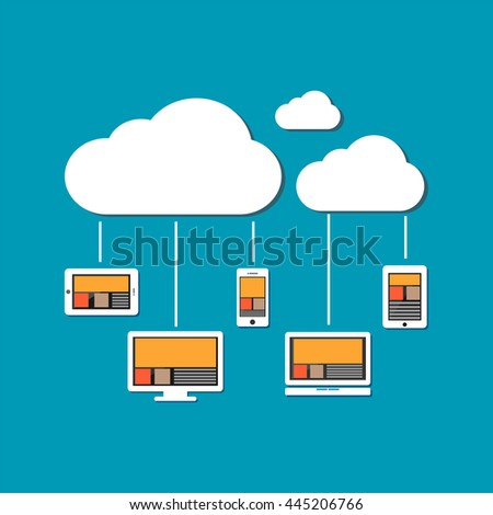 Devices connect to cloud storage. Cloud computing concept. - stock vector