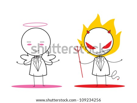 devil and angel - stock vector