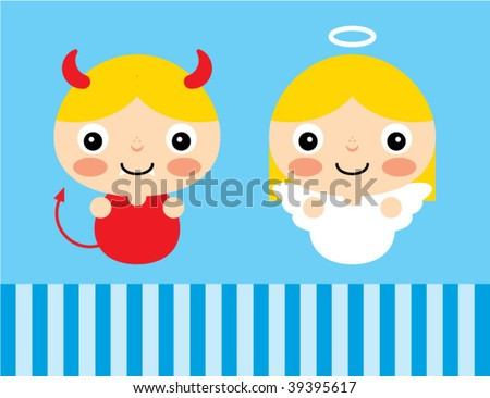 devil and angel card - stock vector