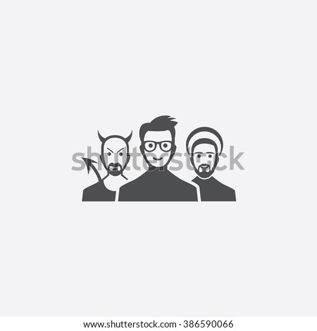 devil and angel Icon - stock vector