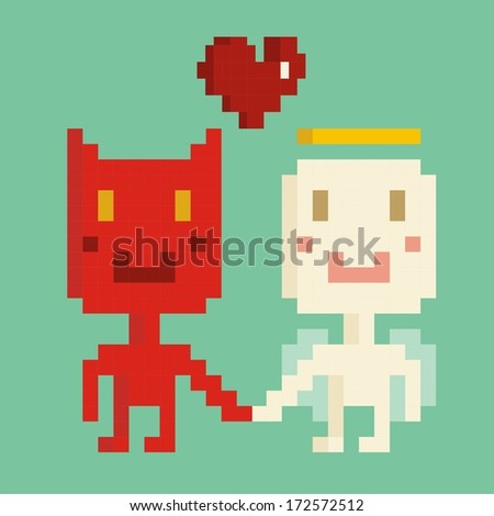 Devil and Angel in love  - stock vector