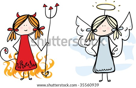 Devil and Angel loose sketch - stock vector