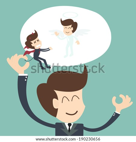 Devil and Angel  - Positive thinking concept - stock vector