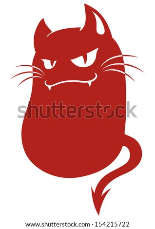 devil cat monster - stock vector