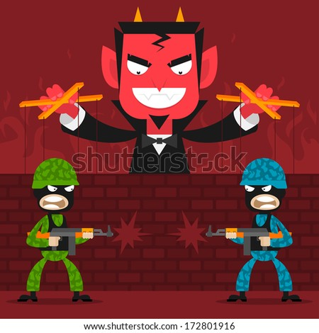 Devil controls soldiers puppets - stock vector