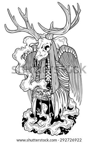Devil Deer - stock vector