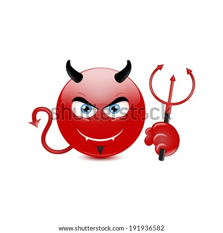 Devil emoticon on a white background. Vector - stock vector