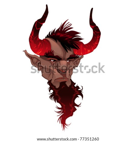 Devil face. Demon's portrait. Vector isolated illustration - stock vector