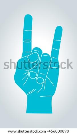 Devil Horns Gesture Metal Hand Silhouette Stock Vector 456000898