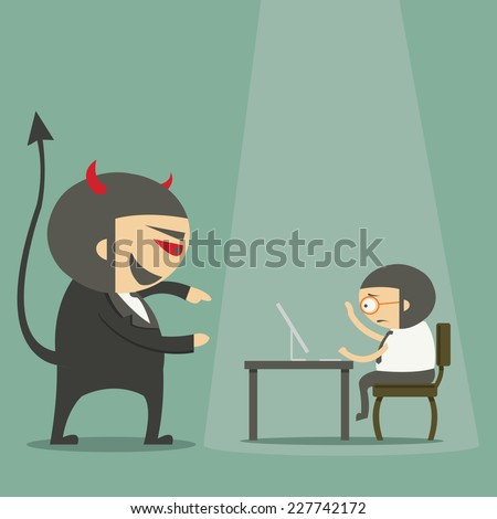 Devil manager overseeing businessman working on computer at the office - stock vector