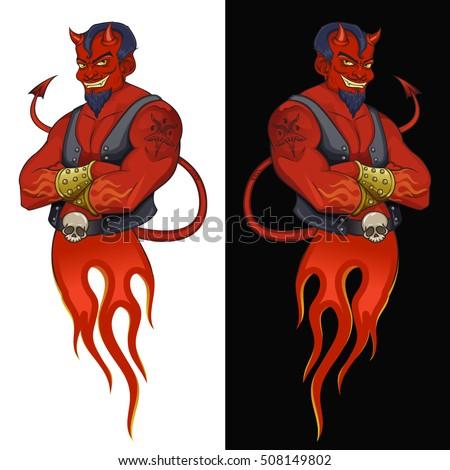 devil mascot vector illustration stylish red stock vector royalty