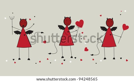 Devils with a heart. Vector illustration - stock vector