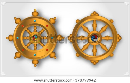Dharma Wheel, Dharmachakra Icons. Wheel of Dharma in realistic design. Buddhism symbols. Symbol of Buddha's teachings on the path to enlightenment, liberation from the karmic rebirth in samsara. - stock vector
