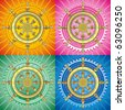 Dharmacakra - dharma wheel, main buddhist symbol. Set of vector editable illustration on abstract oriental background - stock photo
