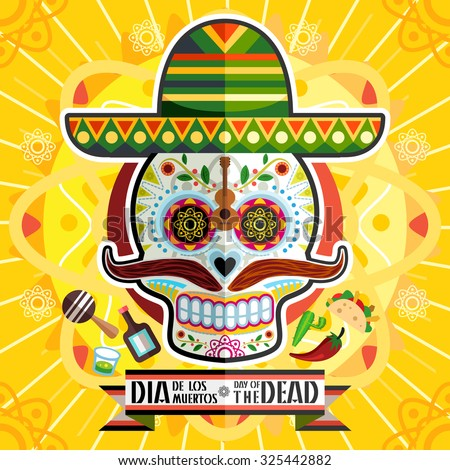 Dia De Los Muertos Day Of The Dead Skull - stock vector