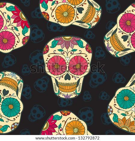 Dia de los Muertos. Vector Skull Seamless pattern - stock vector