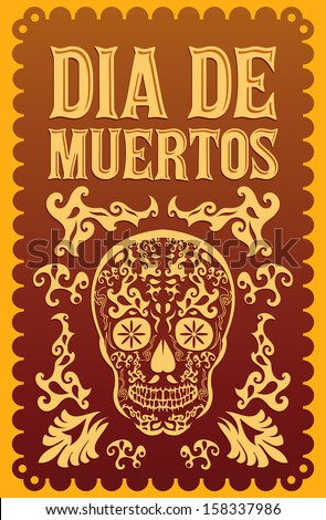 Dia de Muertos - Mexican Day of the death spanish text vector decoration - lettering - stock vector