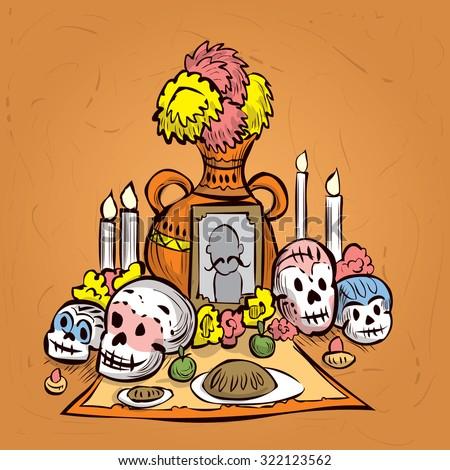 Dia de Muertos. Mexican tradition. Hand drawn vector illustration - stock vector