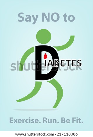 Diabetes Concept. Person Symbol Running to lose weight and prevent diabetes. - stock vector