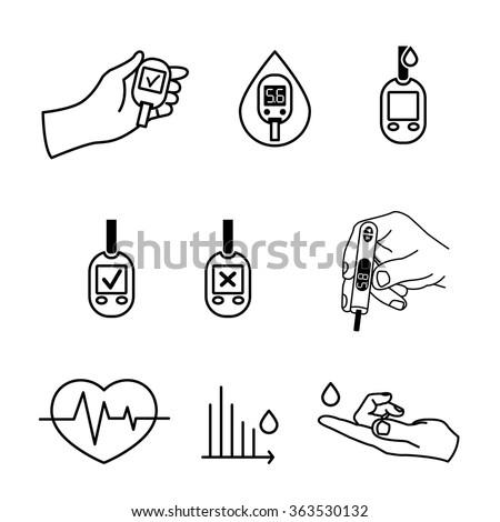 Diabetes Icons vector - stock vector