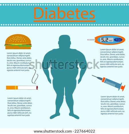 Diabetes is a man on a blue background - stock vector