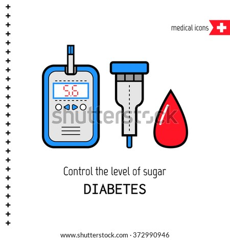 Diabetes. Medical flat icons. Check the level of glucose in the blood - stock vector