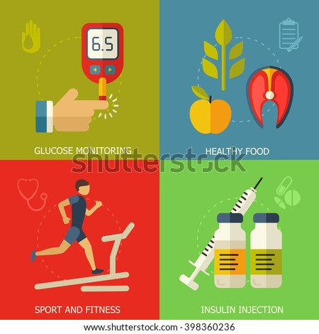 Diabetes vector background.  Diabetic therapy flat style icons set. Blood glucose test.