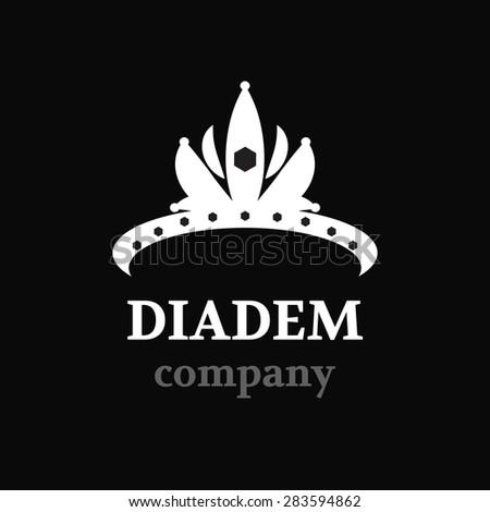 Diadem vector silhouette icon. Diadem logo company. - stock vector