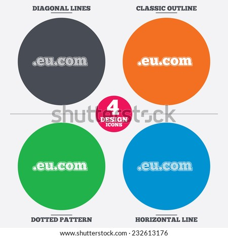 Diagonal and horizontal lines, classic outline, dotted texture. Domain EU.COM sign icon. Internet subdomain symbol. Pattern circles. Vector - stock vector