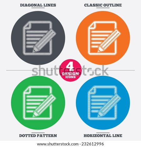Diagonal and horizontal lines, classic outline, dotted texture. Edit document sign icon. Edit content button. Pattern circles. Vector - stock vector
