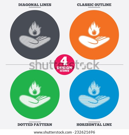 Diagonal and horizontal lines, classic outline, dotted texture. Insurance against fire sign icon. Hand holds fire flame symbol. Pattern circles. Vector - stock vector