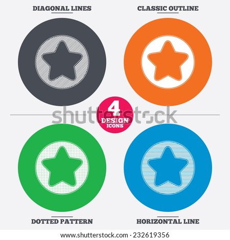 Diagonal and horizontal lines, classic outline, dotted texture. Star sign icon. Favorite button. Navigation symbol. Pattern circles. Vector