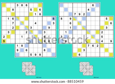 Diagonal Double-Doku, symmetrical. Vector set. 34, 24 clues, with 6 empty sub-regions. Easy and hard. - stock vector