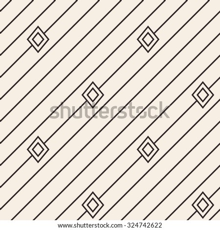 Diagonal lines with rhombus texture. Stripped geometric seamless pattern. Modern repeating stylish texture. Flat minimalistic texture on beige background. Vector - stock vector