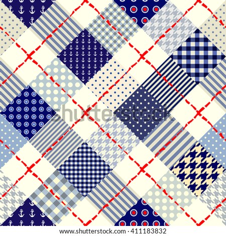 Diagonal plaid in patchwork nautical style. Seamless vector illustration - stock vector