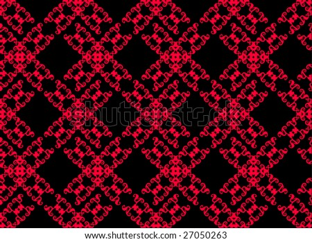 Diagonal red pattern on a black background - stock vector