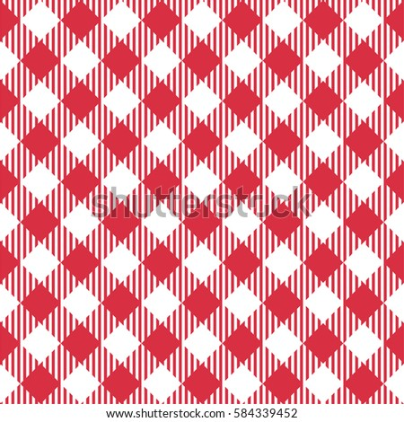 Diagonal Red Seamless Table Cloth With Plaid Gingham Picnic Pattern.